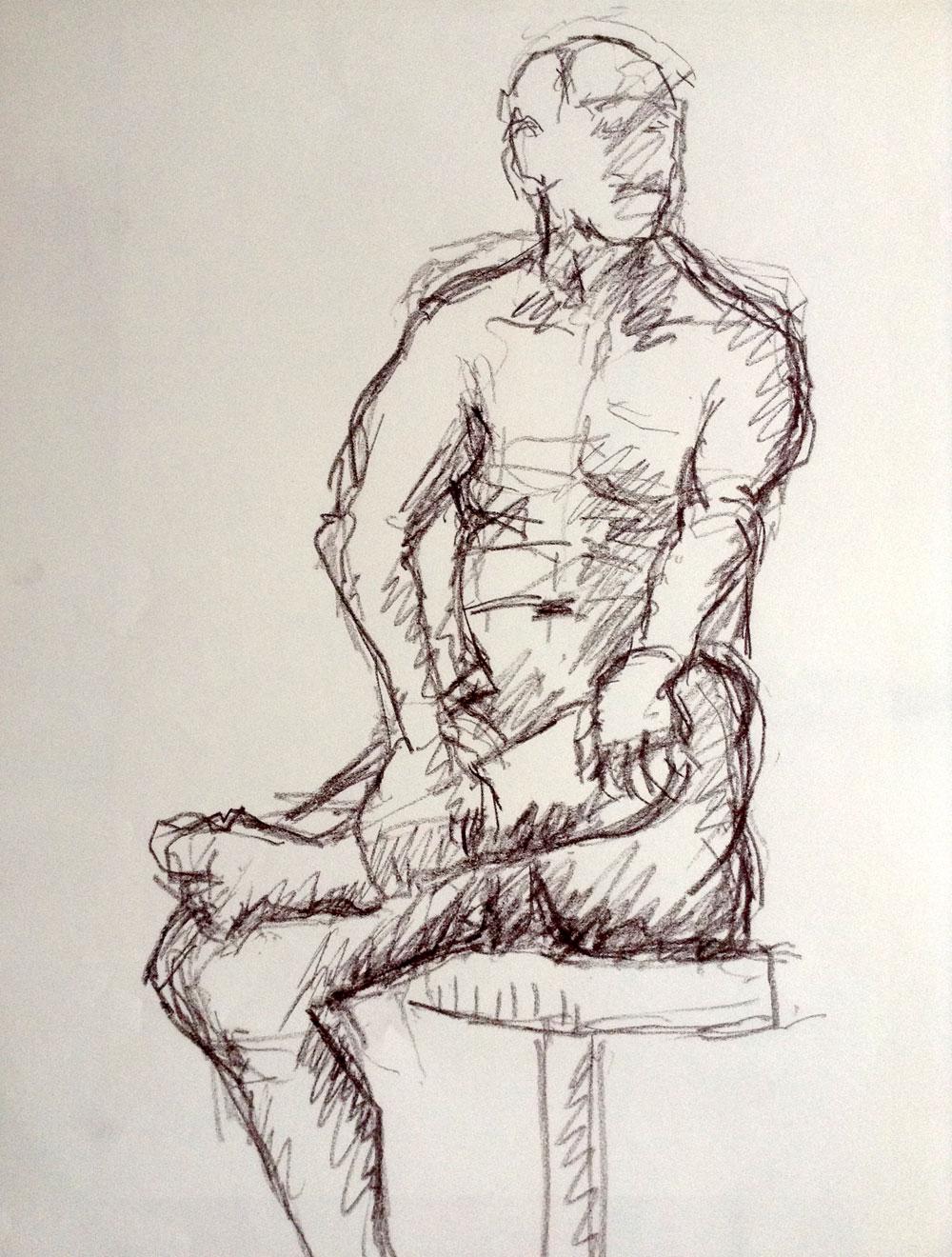 Akt, männlich, sitzend