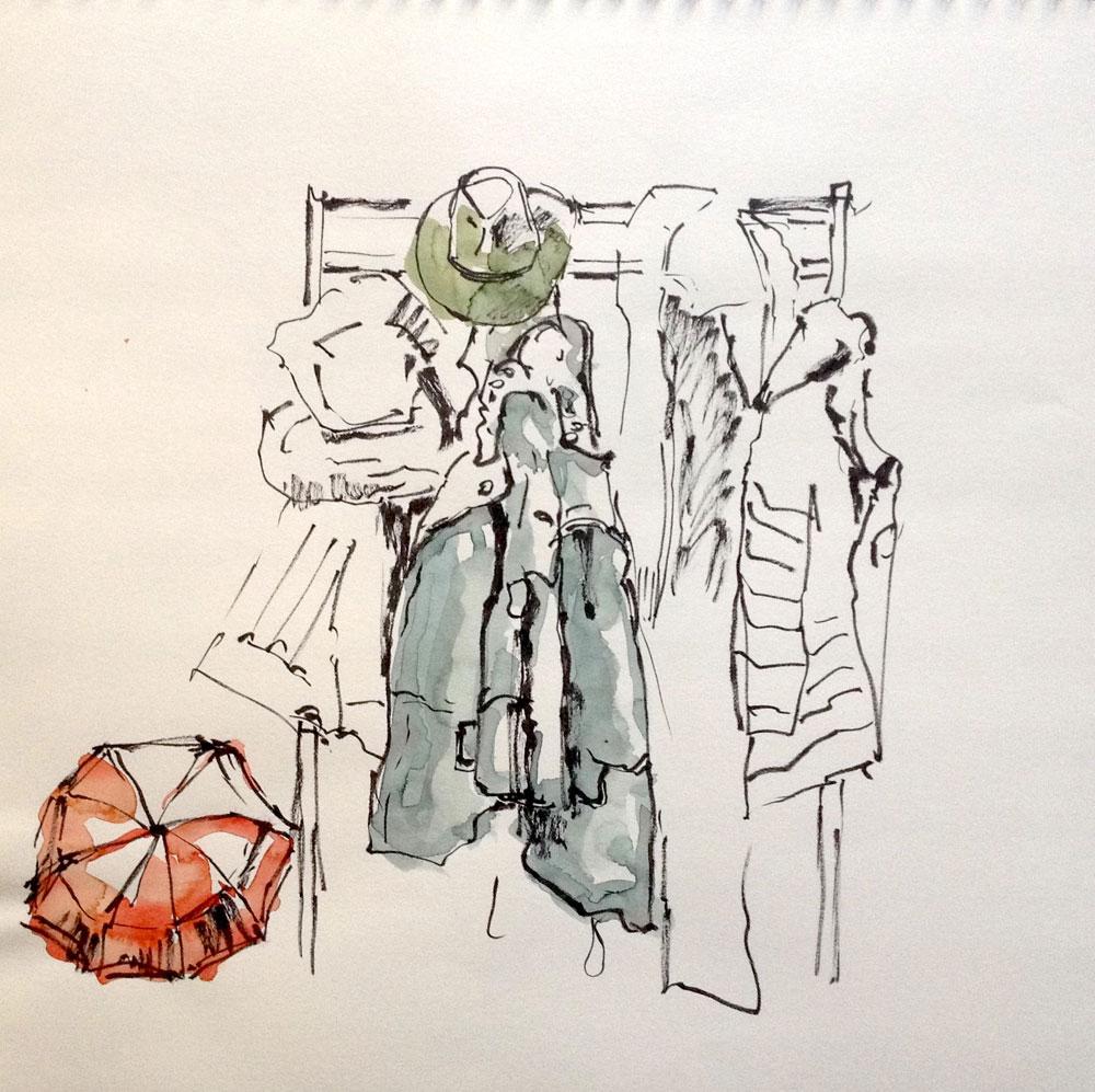 Tusche und Aquarell auf Papier, 40x40 cm