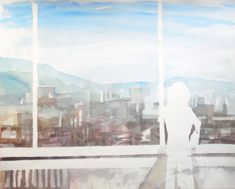 Silhouette mit Frau, Linz vom Wissensturm aus