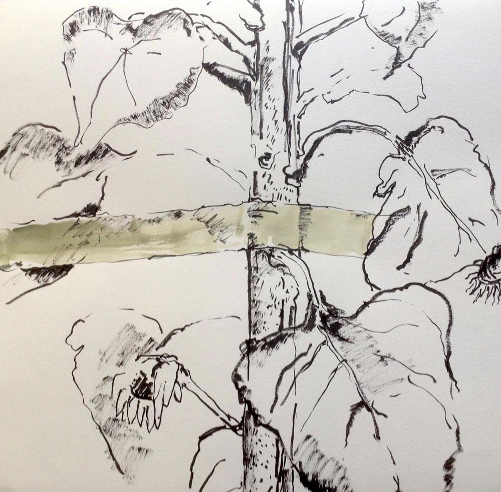 Tusche und Acryl auf Papier, 40×40 cm, 2014