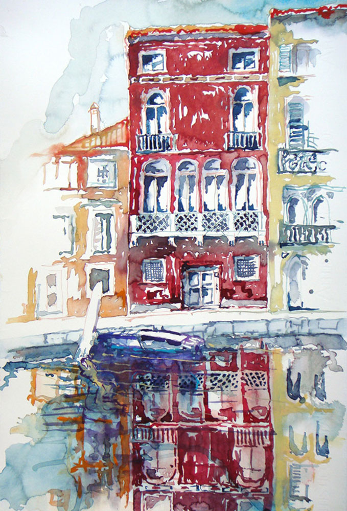 Aquarell auf Fabriano, 58x38 cm, 2012, Venedig, rotes haus
