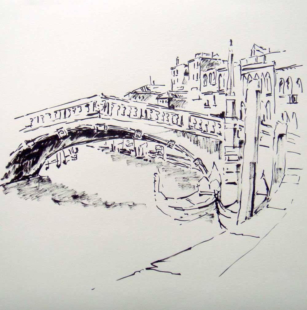 Venedig Brücke mit Booten