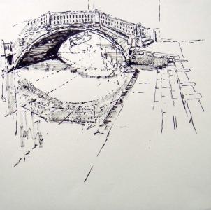 Brücke in Venedig mit Spiegelung