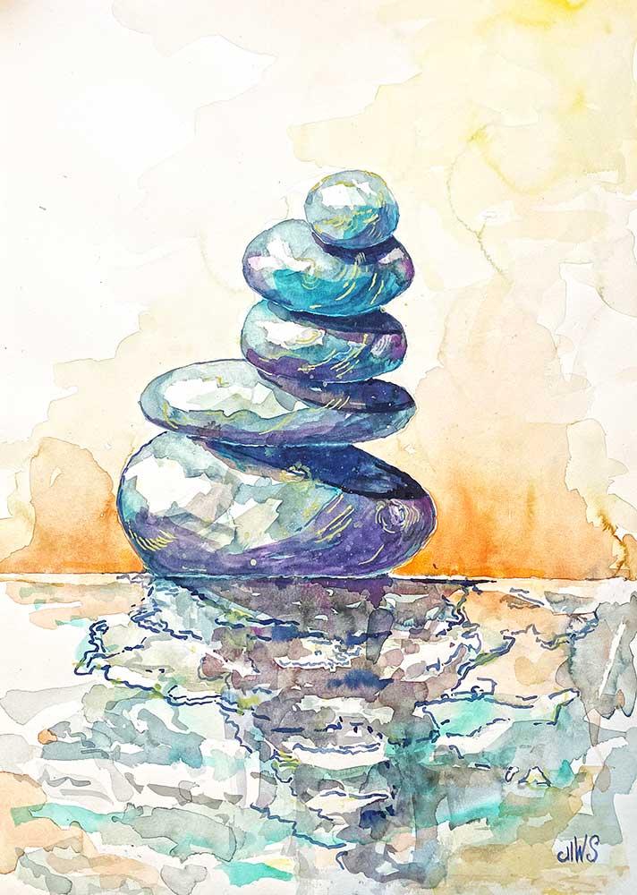 Fragiles Gleichgewicht Steine am Wasser