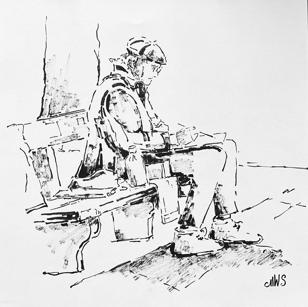 Kurt Panzenberger malt im Brucknerpark