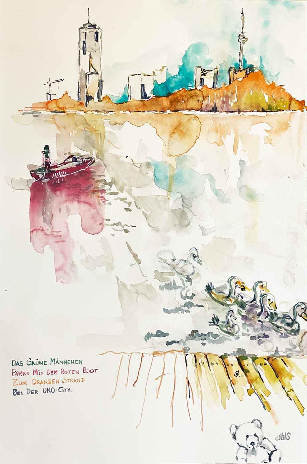 das grüne männchen fährt im roten boot zum orangen strand bei der uno city wien