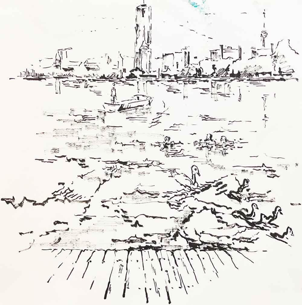 skyline uno city wien alte donau