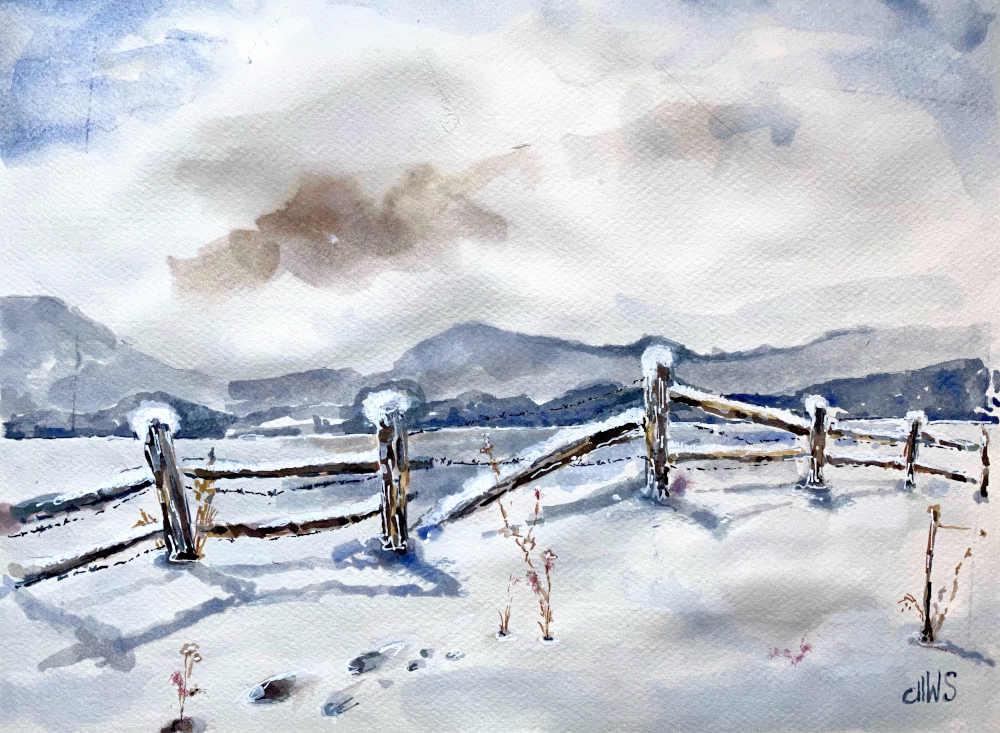 Winterlandschaft mit Zaun
