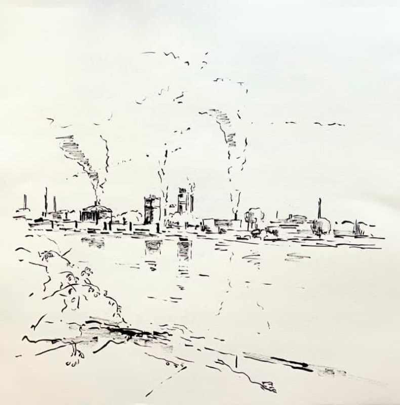 An der Donau bei Plesching Blick auf die Industrie