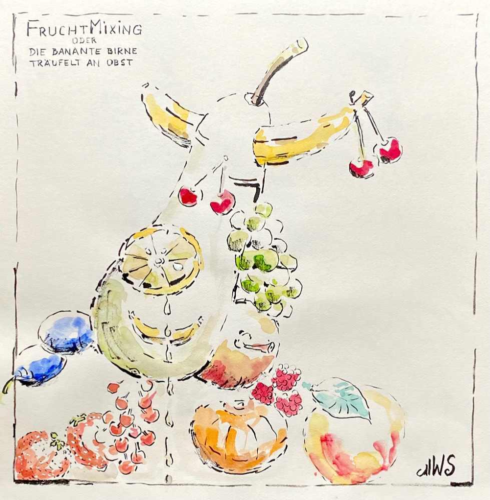 FruchtMixing, oder Die banante Birne träufelt an Obst